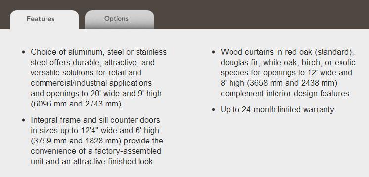 rolling counter door features