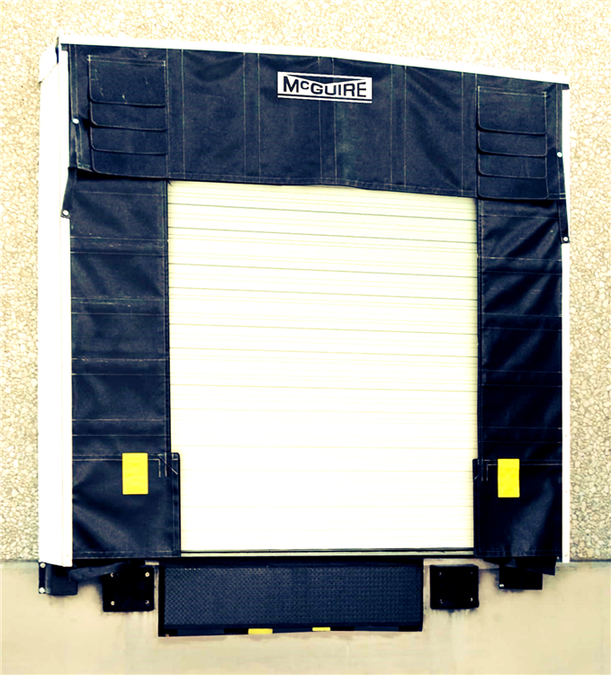 This shelter services a wide variety of vehicle sizes and types, while providing full unimpeded access to the interior of the trailer. The flexible steel X arm frame yields to misguided vehicles and aids in the prevention of costly building and shelter damage. If an off-center trailer contacts the frame it moves upwards and back to prevent potential damage to the wall and/or shelter.