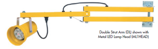 The DL series is the standard in loading dock light arms. Dual struts give this arm the strength to survive in the busiest and most demanding warehouses. The dual strut design will also support a fan or light/fan combination.