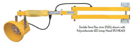 The FLDL series dock light combines the strength of a standard dock light arm with the added flexibility of an impact absorber that bends the head away when bumped by a moving forklift or dock door.