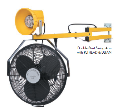"""High Capacity 3-speed fan provides air circulation and cooling throughout the trailer. 18"""" fan rated for 3000 cfm. Each fan is supplied with a """"Y"""" cord that enables the fan to be used separately or in conjunction with all Tri Lite dock light heads."""