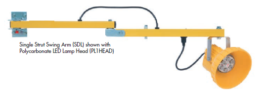 The SDL series is an economical lighting solution for low to mid volume loading docks. The arm features a hinge that allows both vertical and horizontal adjustment of the arm.