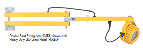 The DSDL series dock loading light provides the double strut design of the DL series along with the vertical and horizontal adjustability of the SDL series for a great combination of strength and versatility.