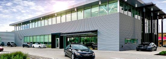 Canopy Type Bifold Doors at a car dealership