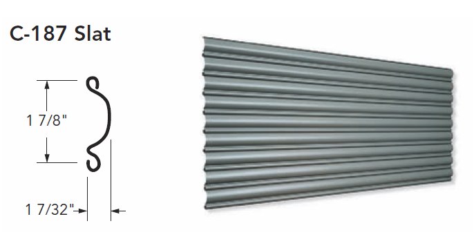 C-187 Slat for Coiling Doors, Roll Up Doors