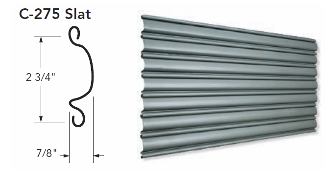 C-275 Slat for Coiling Doors, Roll Up Doors