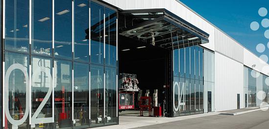 Canopy Type Bifold Garage Doors in a Shop