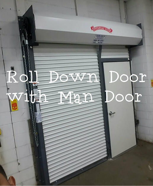 Roll Down Door with Man Door  Overhead Door Company of Meadowlands & NYC rolling door with pass door.