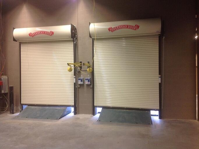 Rolling Door Gate Red Zone for Install and Service; rolling door service photo; white rolling doors.