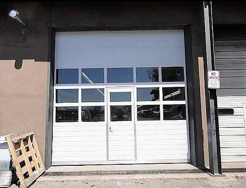 Sectional Door with Pass-Through Door; Installation service of White Sectional Door with Pass-Through Door; front view-3