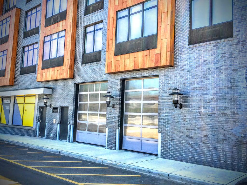 Aluminum glass garage overhead sectional roller doors in new aluminum metal panel overhead garage doors hoboken jersey city harrison edgewater morristown rubansaba
