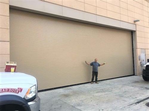 beige rolling steel doors