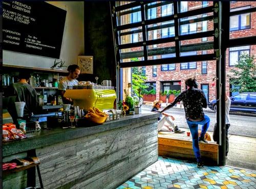 Coffee Shop Glass Garage Aluminum Overhead Door NYC