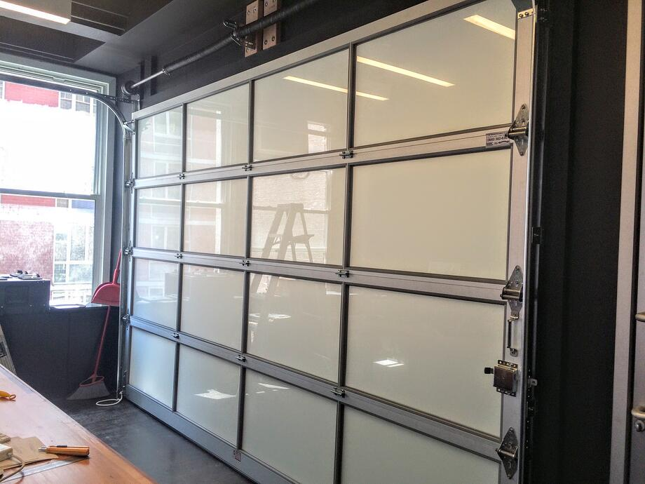 Aluminum glass garage overhead sectional roller doors in new jersey frosted glass garage rollup door nyc njg planetlyrics Gallery