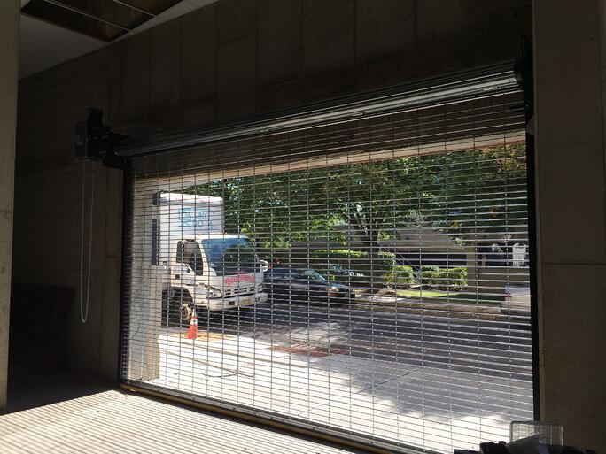 Motorized metal roll up shutters and rapid overhead roll for Roll down garage door screen