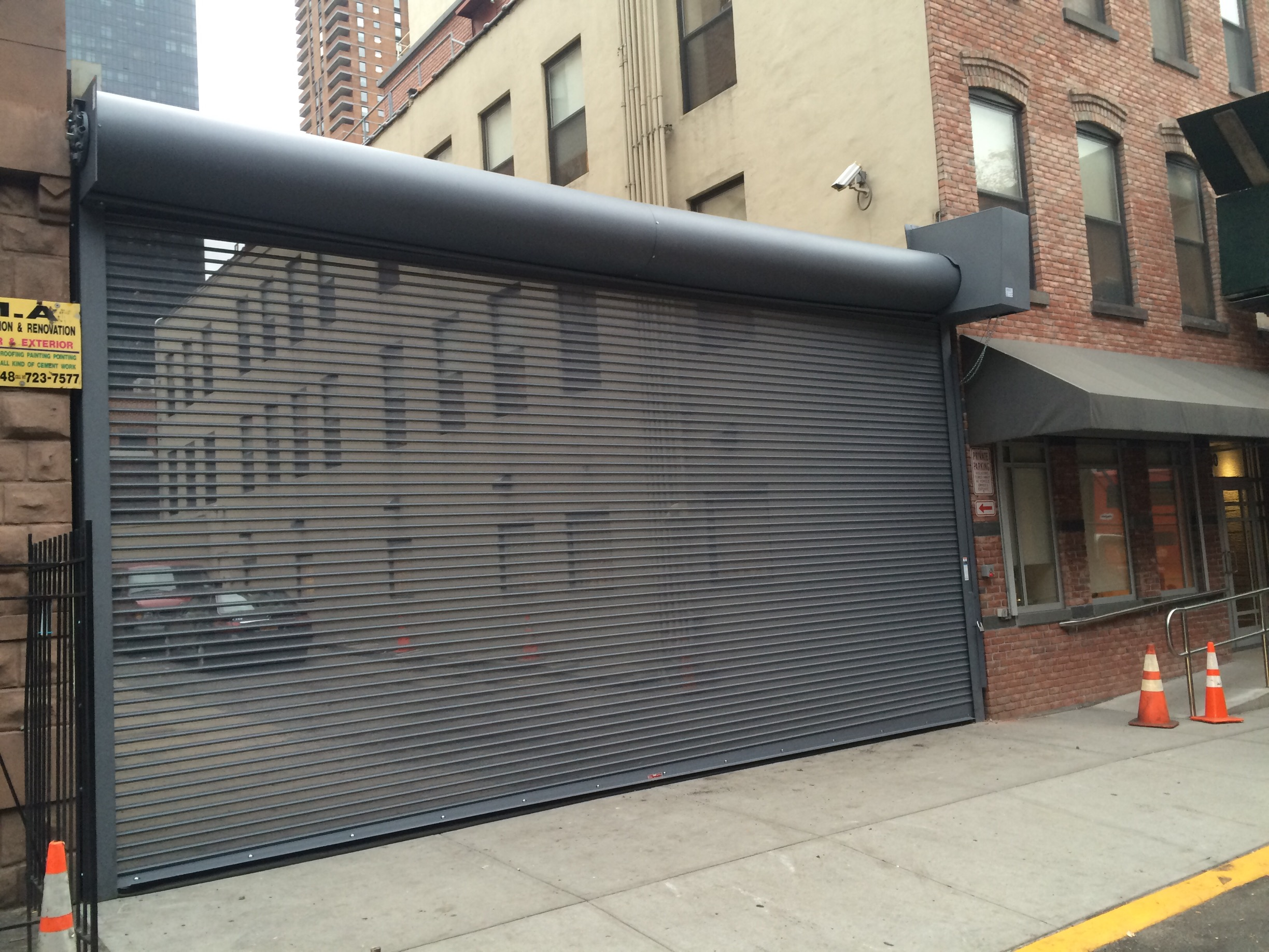 repair mesh perforated punched hole open air visibility rolling door shutter new york city new jersey & Motorized Metal Roll-Up Shutters and Rapid Overhead Roll-Up Doors