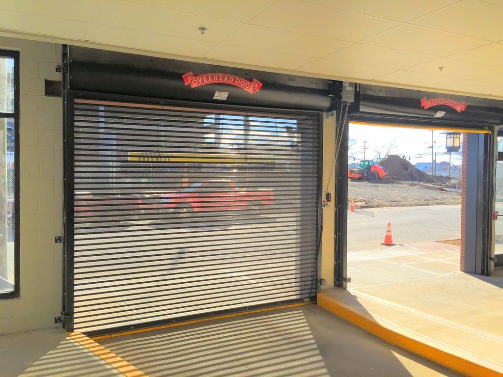Rolling steel door on building - Perforated Roll Up Doors Jpg