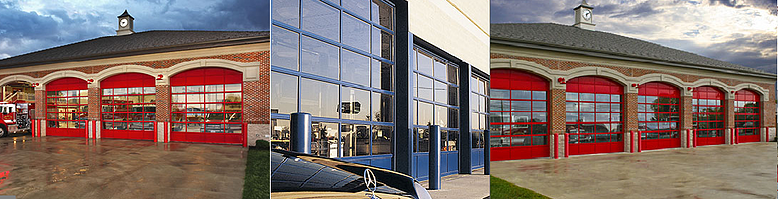 Clopay Architectural Series Model 902 and Model 903 door applications in retail shop and dealership.