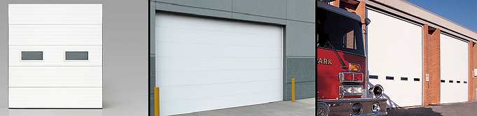 Clopay Sectional Overhead Door, Energy Series Polysterene insulated doors application in distribution center and shipping dock.