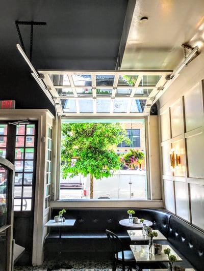 sweethaus-brooklyn-glass-wood-frame-garage-door-restaurant