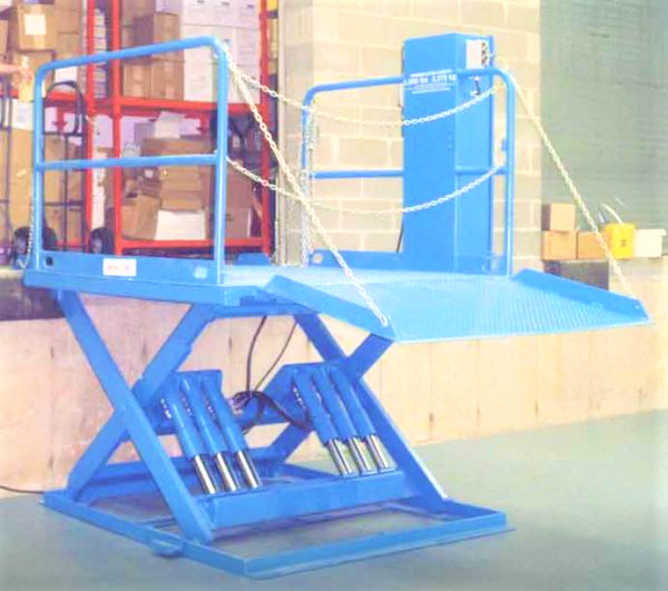 lifts & Docks; blue lift; lift repair by the Overhead Door Company of The Meadowlands & NYC