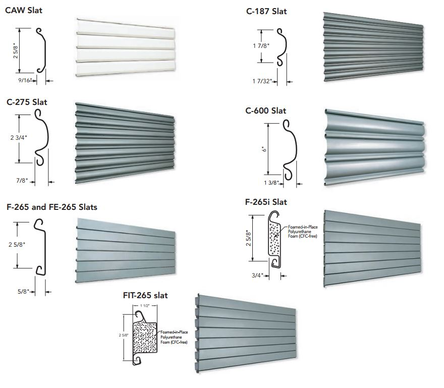 Non-Insulated \u0026 Insulated Metal Slat Overhead Coiling Door Slat Profiles